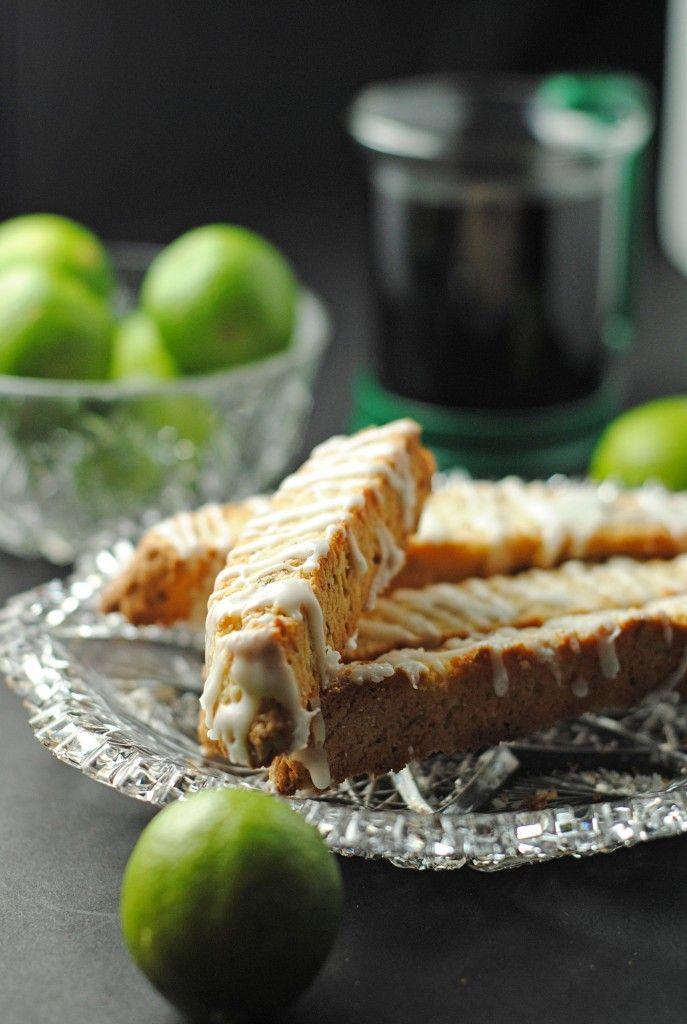 """Key Lime Biscotti with Key Lime Glaze ~ via this blog, """"Juanita's Cocina""""."""