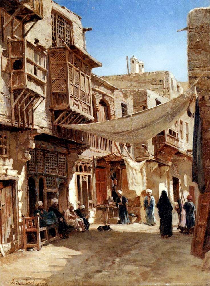 Egypt , Old Cairo Paintings: John Varley (British, 1778 - 1842) - A Street In Boulaq Near Cairo 1881