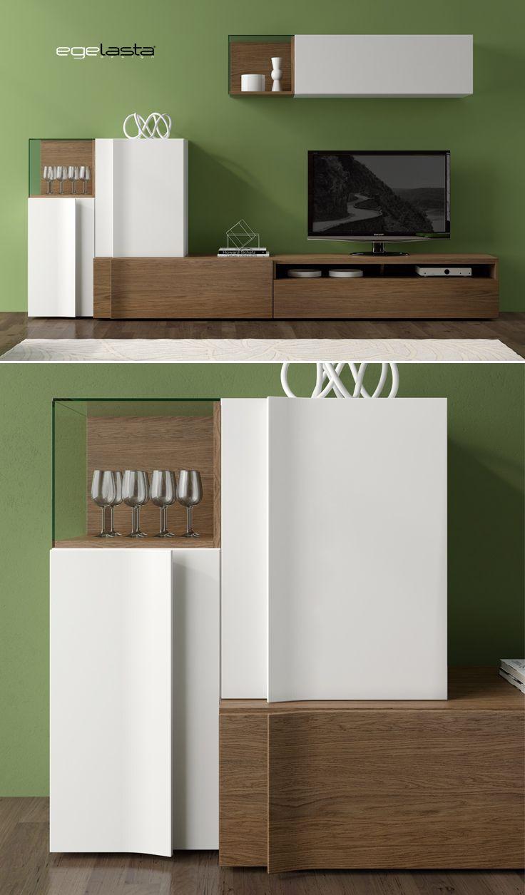 Muebles · egelasta · live · mueble · madera · moderno · comedor · vitrinas · roble cuero · laca blanco