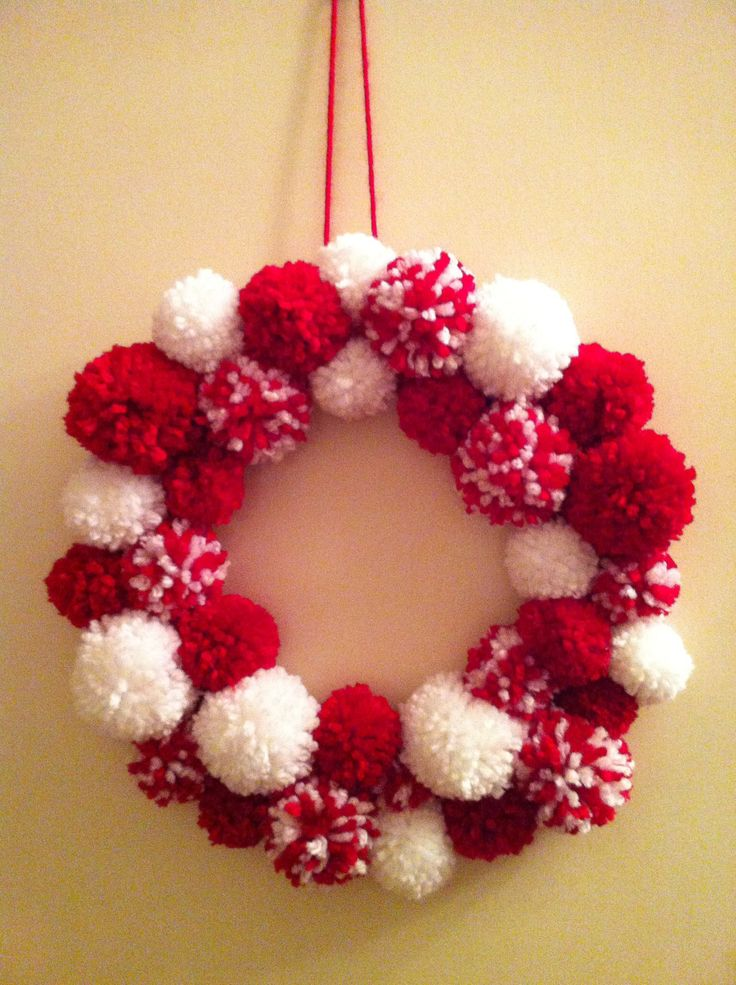 Very proud of the pompom wreath I made