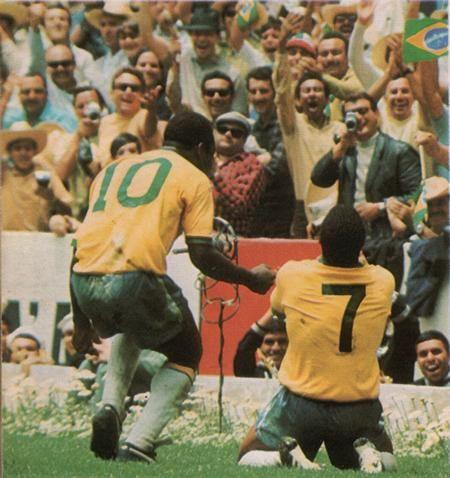 """""""Pelé"""" Edson Arantes do Nascimento (#10 Brazil, 1957–1971, 92 caps, 77 goals) and """"Jairzinho"""" Jair Ventura Filho (#7 Brazil, 1964–1982, 81 caps, 33 goals). Brazil vs Italy 4-1 (1-0 Pelé 18', 1-1 Boninsegna 37', 2-1 Gérson 66', 3-1 Jairzinho 71', 4-1 Carlos Alberto 86'), 1970 FIFA World Cup Final at the Estadio Azteca (Mexico City, Mexico) on 21 June 1970."""