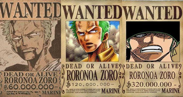 Zoro's bounty then and now