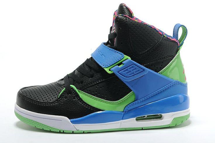 2013 Womens Jordan Flight 45 High Black Blue Green Shoes For Sale