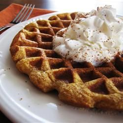 Cinnamon Pumpkin Waffles--mom's favorite. Substitute pumpkin purée for applesauce so end up using one can purée per serving. Also use canola oil instead of olive oil. Double if can because freezes well