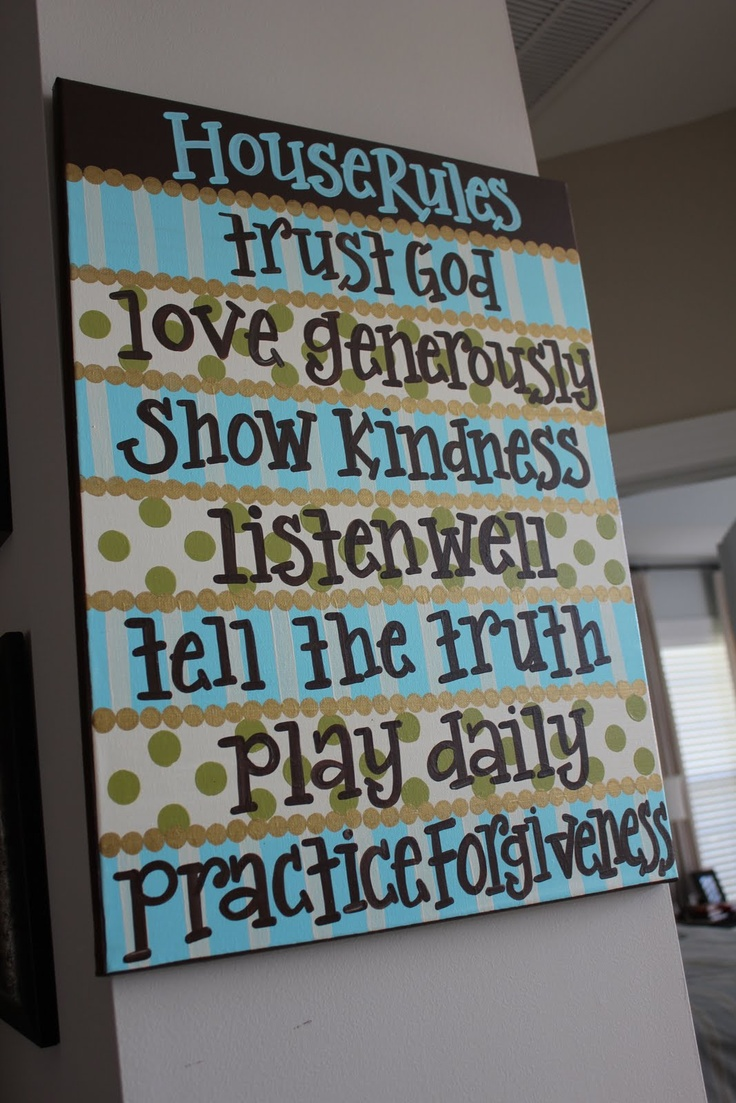 family rules inspirationPeanut Paintshop, Kids Room, Houserules, Rules Boards, Canvas, House Rules, Diy Projects, Family Rules, Families Rules