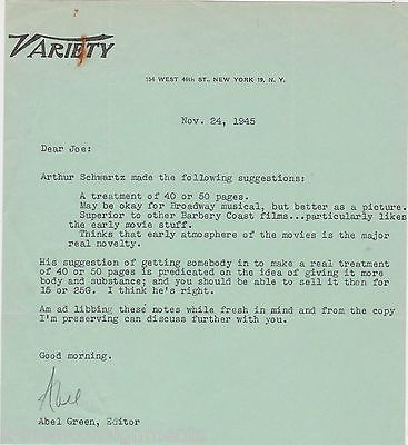 ABLE GREEN VARIETY MAGAZINE EDITOR VINTAGE AUTOGRAPH SIGNED STATIONERY LETTER