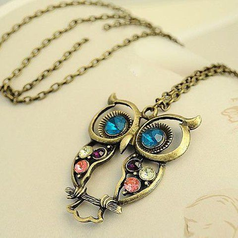 Retro Fashion Style Openwork Owl Shape Colorful Rhinestone Inlaid Necklace For WomenNecklaces | RoseGal.com