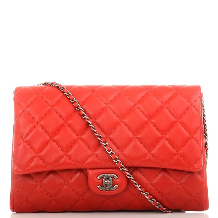 #Chanel Red Quilted Lambskin New #Clutch With Chain