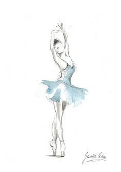 Ballerina Print, Blue Tutu Ballerina, Ballerina Artwork, Ballerina Wall Art, Ballerina Picture, Dancer Illustration, Watercolor Ballerina