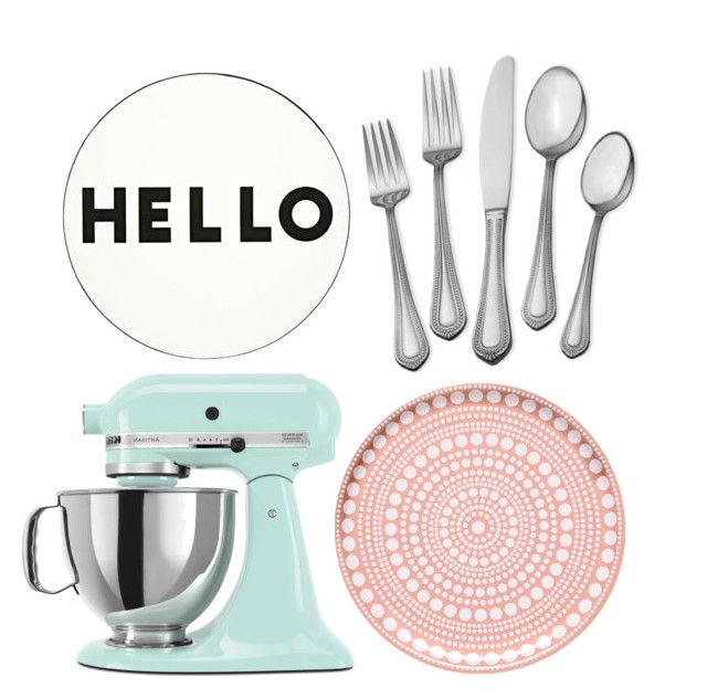Hello, eat! by kyla36 on Polyvore featuring polyvore, interior, interiors, interior design, home, home decor, interior decorating, Lisa Perry, KitchenAid and iittala