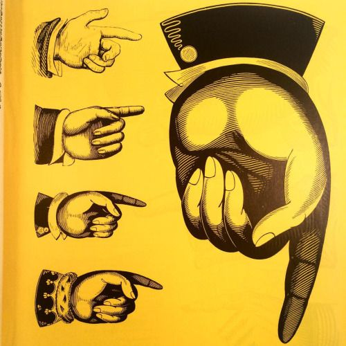 """Manicule from an article by Charles Hasler, """"A Show of Hands,"""" in Typographica magazine, 1953 (at The Herb Lubalin Study Center of Design and Typography)"""