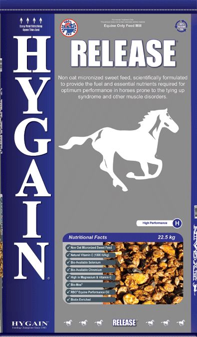 Non oat, high energy feed for horses prone to tying up, muscle fatigue and other muscle disorders.