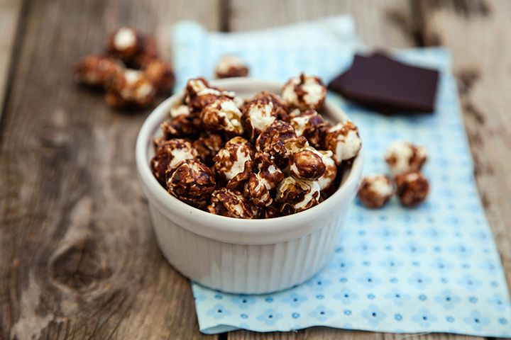 Healthy Chocolate Brown Bag Popcorn: Satisfy your sweet and salty cravings with this tasty popcorn recipe that's under 50 calories per serving.