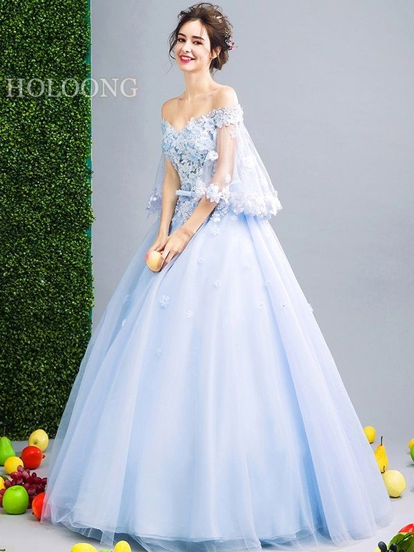 Flowers Blue Ball Gown Bandage White Wedding Dresses Ball Gowns Prom Dresses Blue Prom Dresses Ball Gown