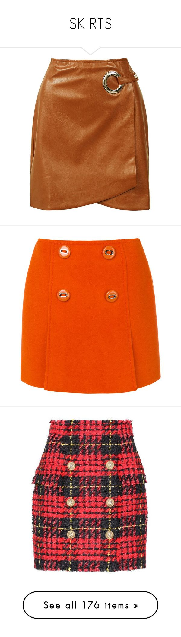 """""""SKIRTS"""" by kareng-357 ❤ liked on Polyvore featuring skirts, mini skirts, wrap skirt, leather look mini skirt, short wrap skirt, faux leather mini skirt, back zipper skirt, orange, prada and short mini skirts"""