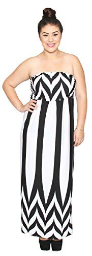 Fashion Bug Plus Size Symmetrical Chevron Pattern Long Tube Maxi Dress. www.fashionbug.us #plussize