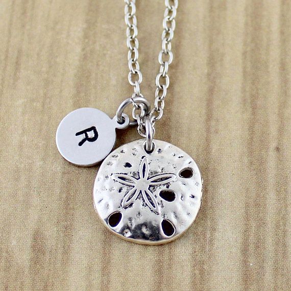 Silver Sand Dollar Necklace  Sand Dollar Charm Necklace with