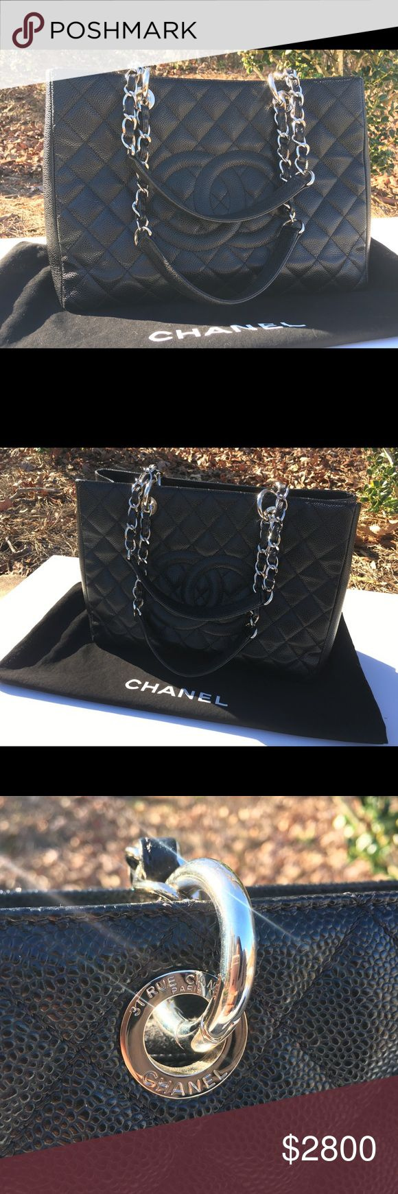 Chanel Shopper 100% Authentic. Purchased online from Bergdorf Goodman. No box. Card, dustbag, copy of receipt included. Carried only a few times. Excellent condition! CHANEL Bags Totes