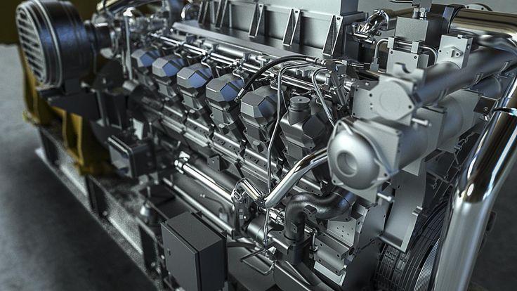 Cat 3512C GenFlex Ship Engine detail rendered for Pon Power in KeyShot by Magnus Skogsfjord.