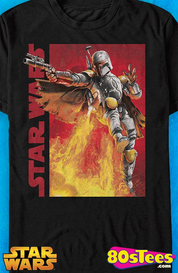 Boba Fett Jetpack Star Wars T-Shirt: Star Wars Mens T-Shirt:  Boba Fett Geeks: Travel everywhere in this men's style shirt that has been designed with great art and illustration.
