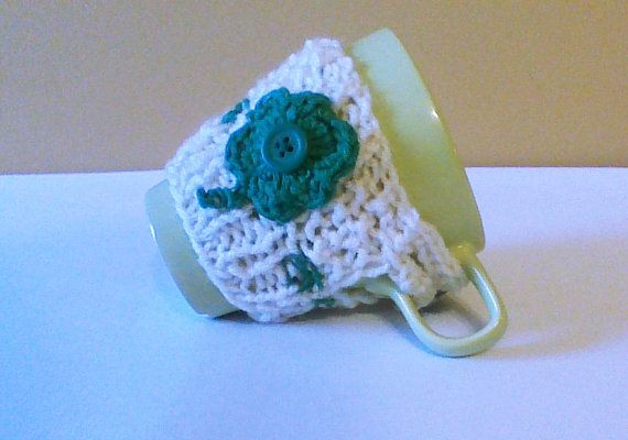 St. Patrick's day knit coffee cozy crochet by HandmadeTrend #cozy #cup sleeve #cup warmer #shamrock #gift #st patrick #clover