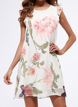 Vestidos Chifón Floral Sobre las rodillas Sin mangas
