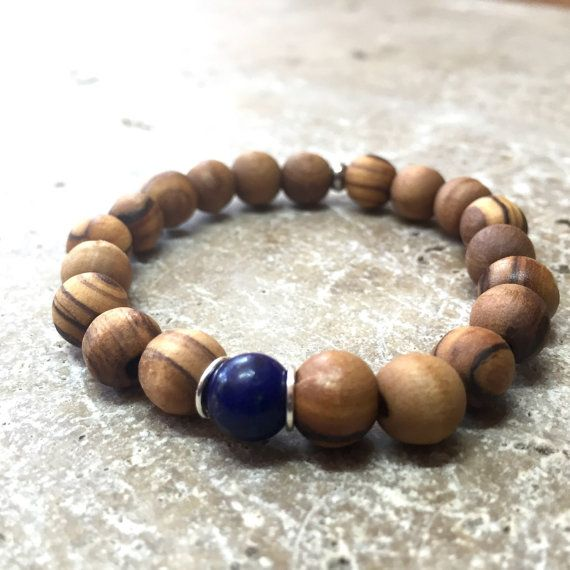Lapis lazuli and olive wood bead bracelet. August-September Virgo birthstone by BourdonStreet