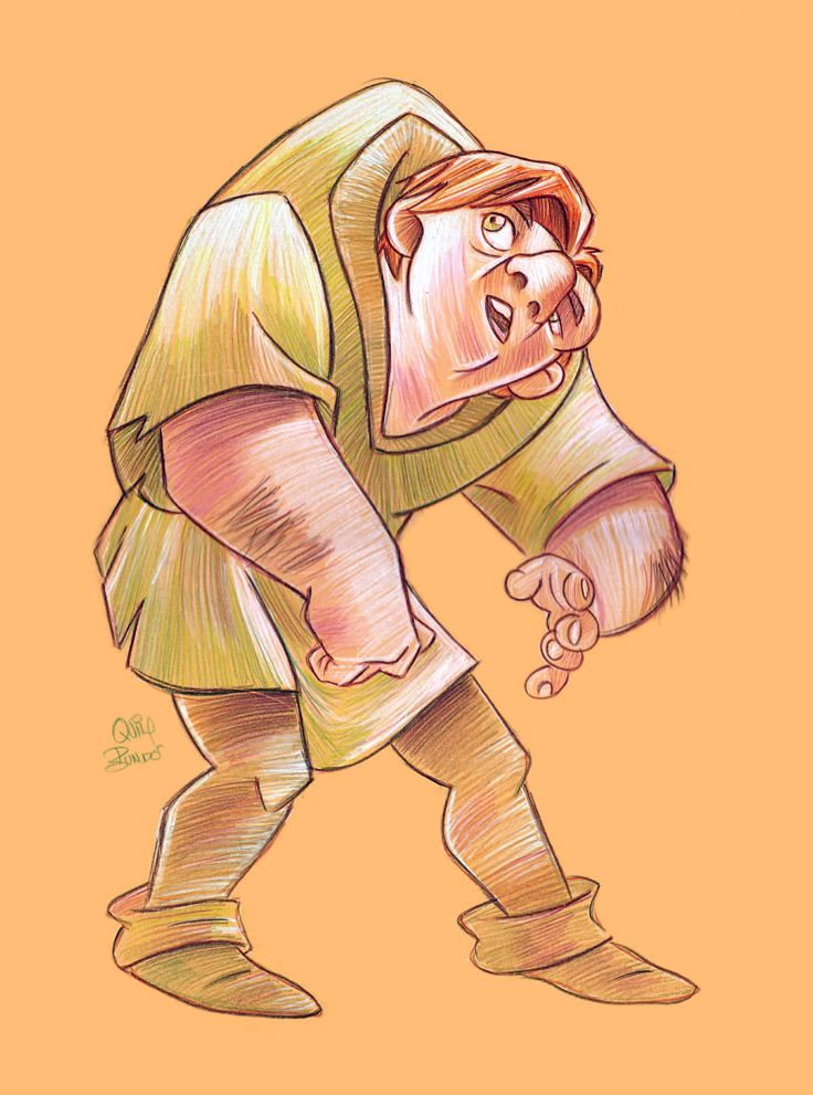 Quasimodo with colored pencils.