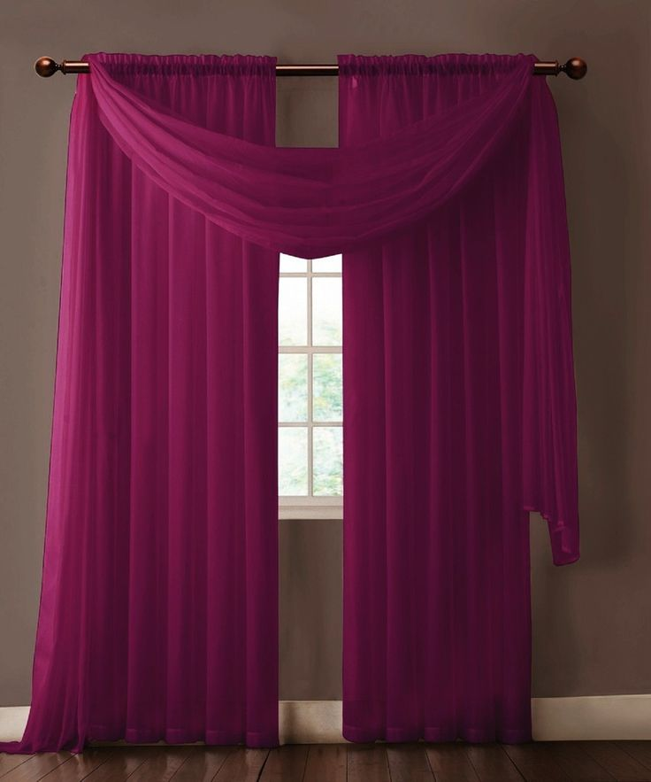 Warm Home Designs Pair Of Plum Purple Sheer Curtains Or Extra Long Window Scarf Purple