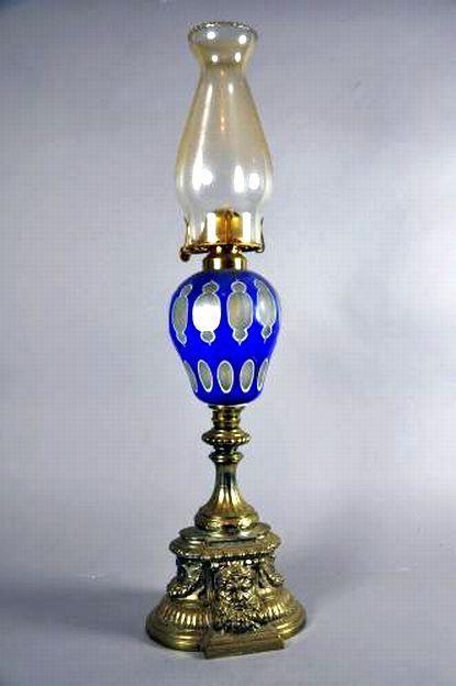 Victorian blue overlay glass fuel lamp with cast mask base - Lamps - Kerosene/Oil - Lighting