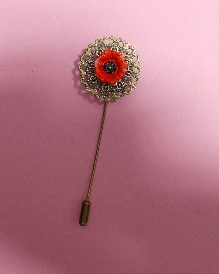 Red FIELD POPPY PIN on Bronze Tone Filigree Flower Remembrance Lapel HANDPAINTED #HandmadeArtistKerryWilliams