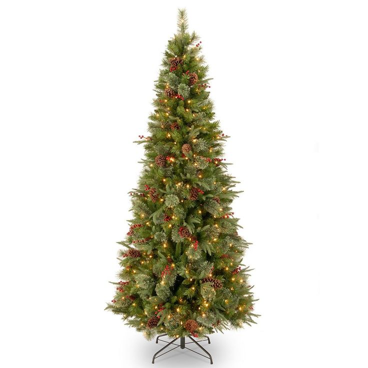 7.5-ft. Pre-Lit ''Feel Real'' Colonial Slim Artificial Christmas Tree, Green