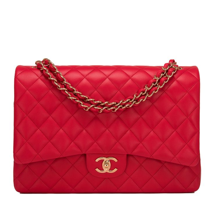 Chanel Maxi Classic double flap bag of red lambskin leather with light gold hardware. AVAILABLE NOW For purchase inquiries, Please Contact: Email: info@madisonavenuecouture.com I Call (212) 207-4572 I WhatsApp (917) 391-2281 Direct Message on Instagram: @madisonavenuecouture Guaranteed 100% Authentic | Worldwide Shipping | Bank Transfer or Credit Card