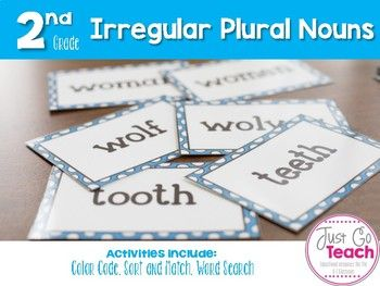 **Updated April 2017***This packet has 3 activities that will help your students understand irregular plural nouns. Each activity has 50 nouns to practice.Color Code: 50 nouns (plural and irregular.) Students use a color code to complete the sheet. An answer sheet is provided.Match-Up: 50 nouns (plural and irregular) on a card.