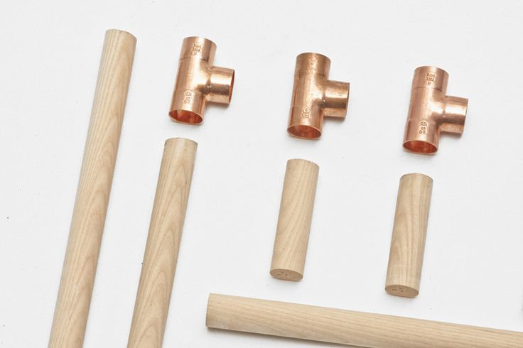 lacquered ash wooden rods and copper pipes joints.