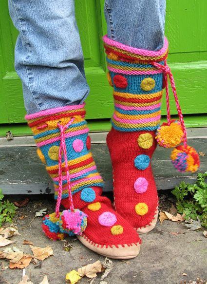 Macaron Knitted Sock Boots: free pattern
