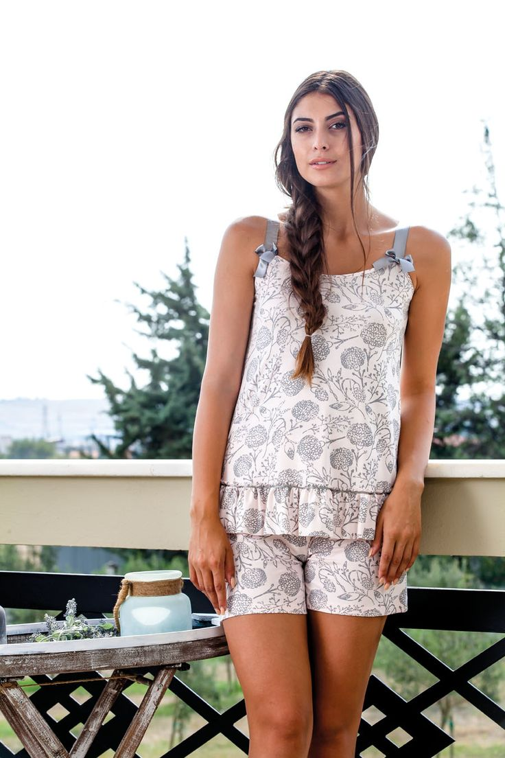 Claire Katrania Homewear Με Σορτς Γκρι-Ροζ Τύπος C-8904 – Tartora.gr