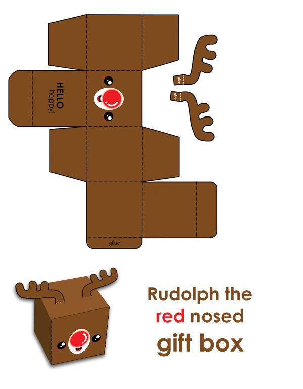 Rudy the #FREE red nosed gift box! | hellohappycrafts.deviantart.com on @deviantART #printable #christmas