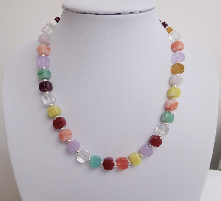 Multi Colour Glass Cube Beaded Necklace, Colourful Necklace by WendyMCreations on Etsy