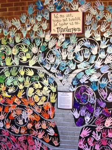 J.W. Killam Family Tree     Year two~ Each student traced his/her hand and selected one color to decorate the hand with symbols that repre...