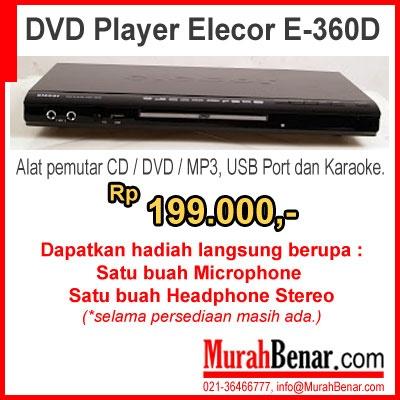 DVD Player Elecor E-360D  Alat pemutar CD / DVD / MP3, USB Port dan Karaoke.