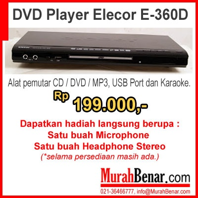 DVD Player Elecor E-360D  Alat pemutar CD / DVD / MP3, USB Port dan Karaoke.
