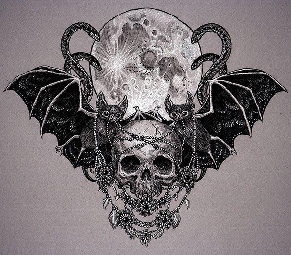 halloween drawing Idea for chest piece tattoo Bat Tattoo Skull Tattoo #Uncategorized #tattoo
