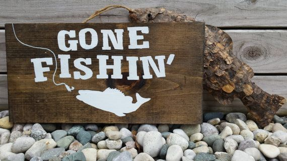 Gone Fishing Sign Hanging Wooden Sign Fishing by JunkyardDaisies