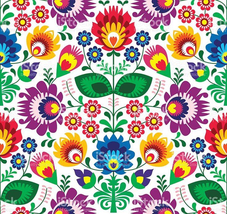 Nahtlose traditionelle polnische floral pattern Volkskunst Lizenzfreies vektor illustration