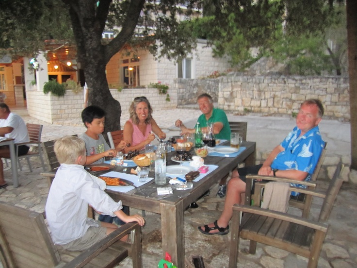 2012 August Croatia Sunsail Flotilla, Maureen, Martin and Zack with Rafael, Evelynn and Christian - Thank you Christian for sharing your knowledge on the very best places to eat; amazing food and affordable for those on a budget :)