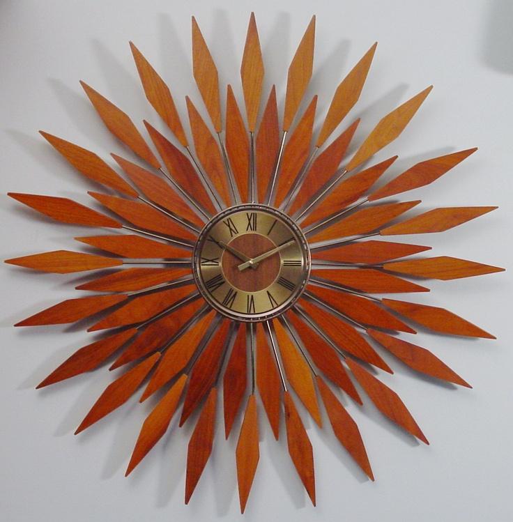 starburst wall clock 1960s mid century modern sunburst