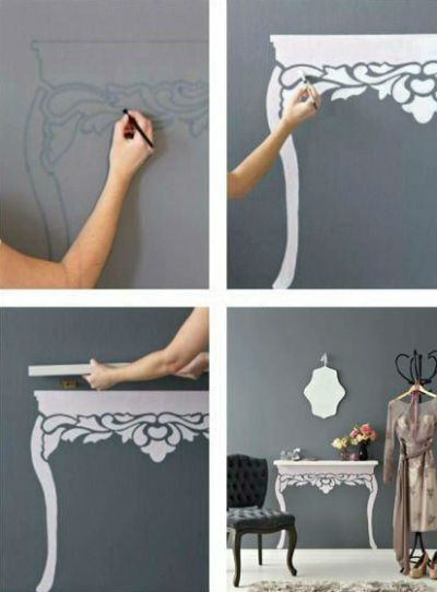 "instead of a picture table taking up space, just use a shelf and then paint the ""legs"" anyway you wish!"
