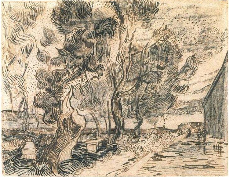 Vincent van Gogh Esquina del asilo y el jardín con un árbol pesado y recortado…