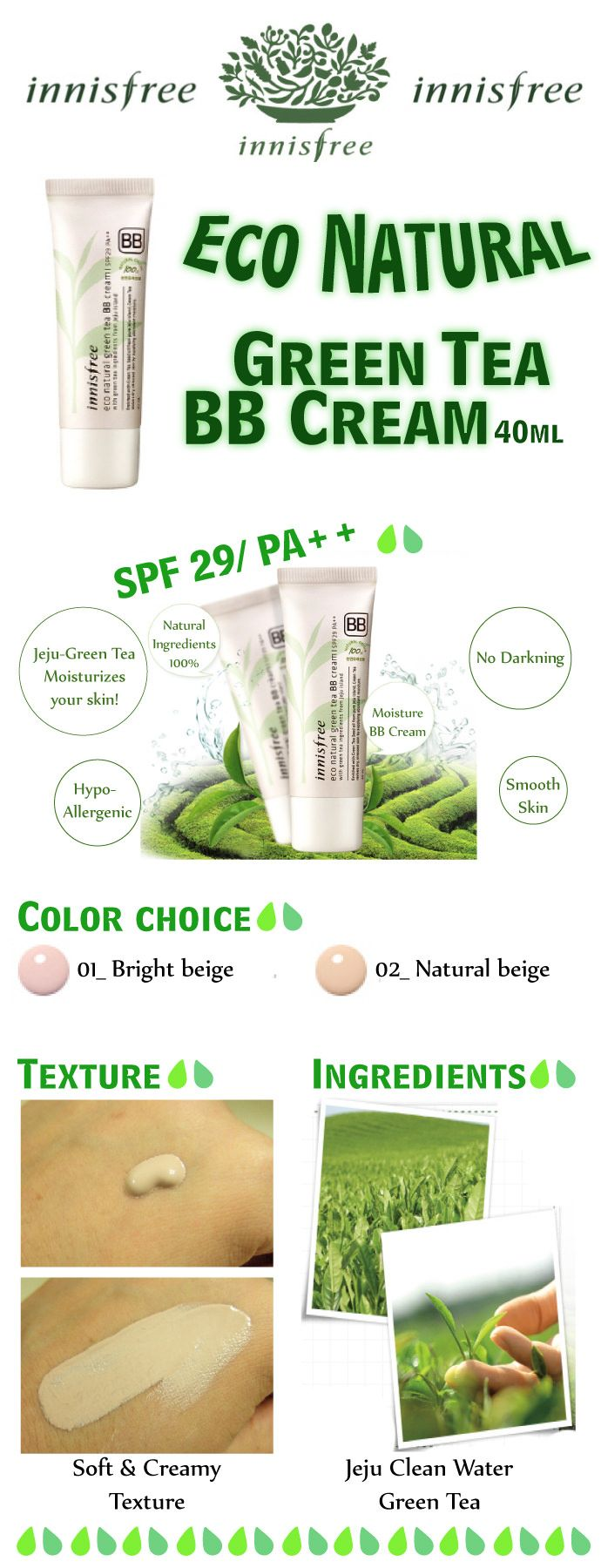 Achetez en ligne INNISFREE Eco natural Green tea BB Cream SPF29PA ++ 40 ml dans la boutique maBBcrème avec livraison offerte dès 60€ et échantillons offerts !